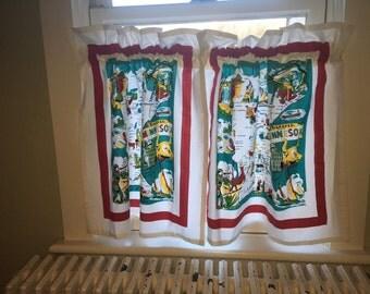 Pr of Minnesota Cafe Curtains from Retro Flour Sack Dishtowels, Vintage Camper Curtains, Retro Kitchen Dceor, State Dishtowel Cafe Curtains
