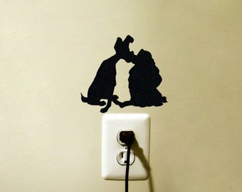 Lady and the Tramp Disney Light Switch Vinyl Decal Sticker Dogs