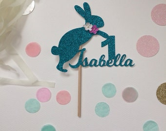 Personalised glitter card Bunny Rabbit cake topper