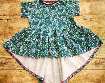 Girls short sleeve summer high lo tunic length dress, made to measure - age 1 to 8. Pretty navy floral dress by Loved Garms