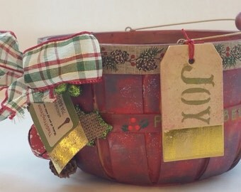"Small Wooden Basket ""RED HOLIDAY TARTAN"" Gift Basket Planter Centerpiece"