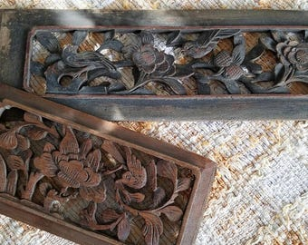 Carved Asian Panels with Birds – Vintage Pair – Specific Age Unknown