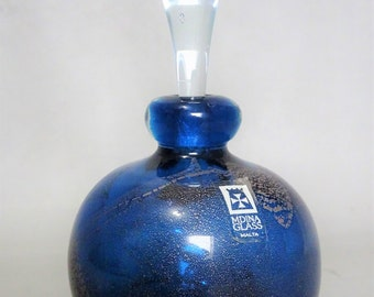 Mdina Malta art glass Parfum bottle - 1970s - Signed & stickered - Gift for woman - collectable glass art