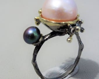 Unique 925 sterling silver ring with 2 cultivated freshwater pearls  - Statement ring - gift for woman - mothersday gift