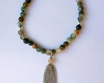 Natural Agate Bead Bracelet - Silver Chain Tassel