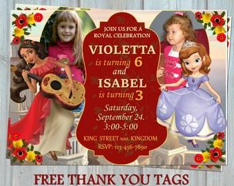 Elena de Avalor y Sofía la primera invitación del hermano, doble tarjeta de la invitación de la fiesta del cumpleaños hermana