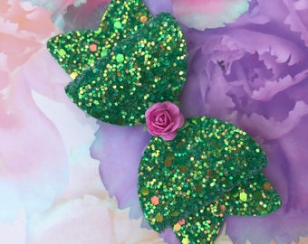 Handmade Girls Green Glitter Bow With Flower Embellishment. Gifts For Girls. Hair Accessories. Hair Bow