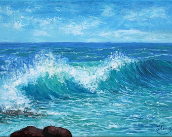 Seascape painting Ocean Wave Sea Canvas Wall Art Beach Wave Painting Coastal Wall Art Seascape Oil Painting On Canvas Ocean painting