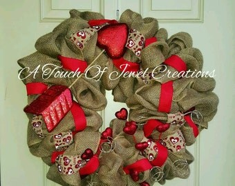 Heart Arrow Burlap Wreath