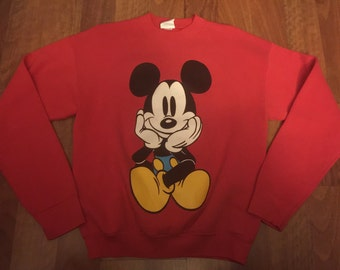Vintage 90's Mickey Mouse Double Sided Crewneck Sweatshirt Disneyland