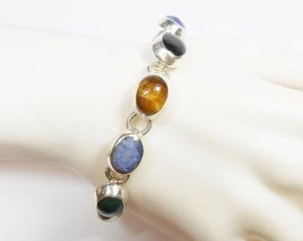 "Taxco Bracelet, Gemstone Bracelet, Vintage Bracelet, Taxco Sterling Silver Multi Gemstone Link Bracelet 7"" TB-15 #2825"