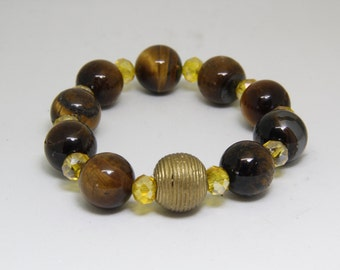 Small Sized Tiger Eye Ghana Beads- with Assorted Crystals