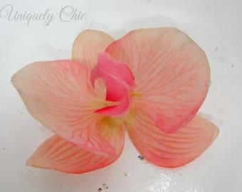 Blush pink orchid hair flower, Bridal hair pin, Wedding hair accessory, Real touch hair flower, Wedding hair pin, Tropical hair flower