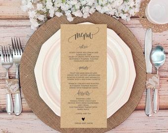 Editable wedding menu template, Rustic Printable wedding menu card, Instant Download, PDF