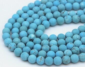 Matte Blue Howlite Beads 8mm 10mm Dyed Sleeping Beauty Turquoise Beads Blue Magnesite Beads Blue Gemstone Blue Mala Beads Blue with Matrix