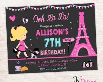 Paris Birthday Invitation, Paris Invite, Printable Birthday Invitation