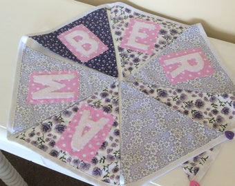 Personalised, Custom Name Bunting Baby girl gift, Nursery Decor,Christnening gift.