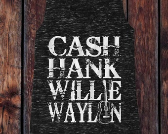 Johnny Cash, Hank Williams, Willie Nelson, Waylon Jennings - Icons of Country Music Southern Style Tank Top - Ink Printed