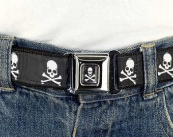 Kids Belt Press Belt Adjustable children's girls or boys belt in Black Skulls