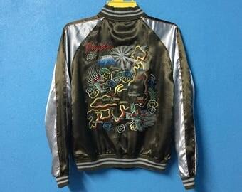 Rare!!vintage 90s sukajan souvenir jacket reversible nice design