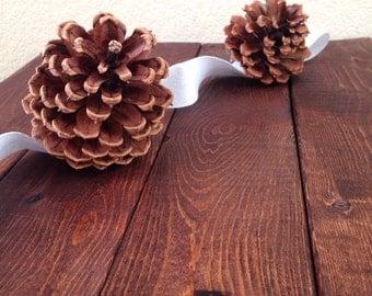 Pine Cones Garland / Natural Pine Cones Garland / Handmade Pinecones Garland/ Rustic Wedding Garland/ Mantel Decor/ Fireplace Decor / Silver