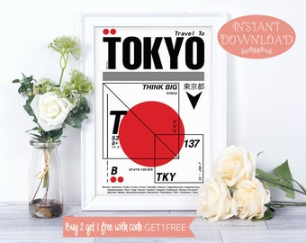 Printable Art, Tokyo Poster, Travel Print, Tokyo Art, Tokyo Wall Art, Tokyo Printable, Tokyo Wall Prints, Wall Art Prints, Instant Download