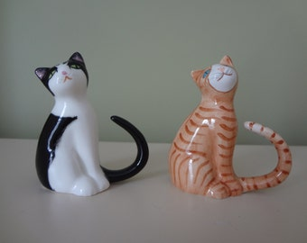 Cats Pair Collectible Porcelain Bone China Cat Figurine