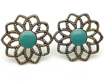 Silver Tone Metal and Turquoise Flower Round Stud Earrings Vintage from the 90s