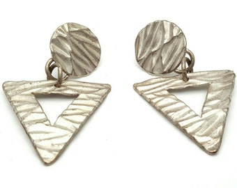 Primitive Geometric Shape Drop Earrings Vintage from the 80s Silver tone Metal Circle Triangle