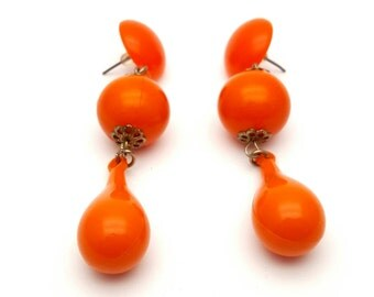Plastic Drop Orange Earrings Vintage from the 80s Gold Tone Filigree Sides Dangle Teardrop NOS
