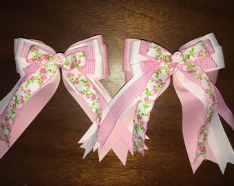 Country shabby chic floral spring equestrian horse show bows