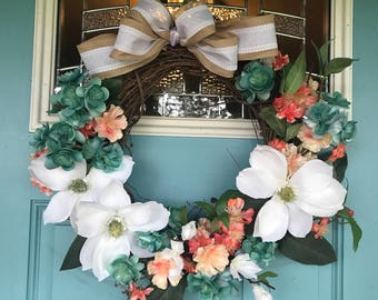 Spring grapevine wreath in coral, turquoise, and white