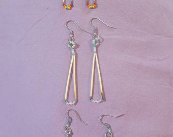 Native American Made porcupine quill earrings