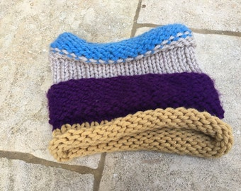 Snood - blue, purple and mustard, soft and chunky