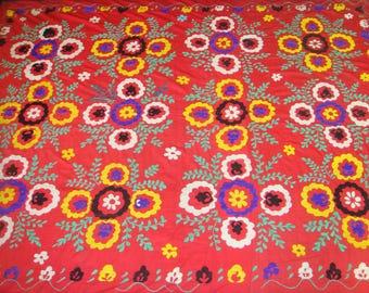 Big Sale!!! Vintage UZBEK SUZANI Handmade silk Embroidery on cotton fabric (204x160 cm 80х63 inch)