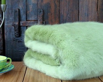 Faux Fur Throw Spring Willow, Pastel Green Bedspread, Bed or Sofa Throw with ivory faux-suede lining in a range of sizes