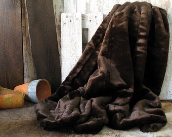 Bison Brown Faux Fur Throw. Faux Fur Blanket for Bed or Sofa with brown faux-suede lining in a range of sizes