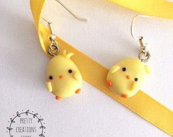 Cute Chick Earrings, Little baby chick Yellow Earrings, earrings, thumbnails Cute Kawaii Chick, Yellow little bird, Chick Earrings