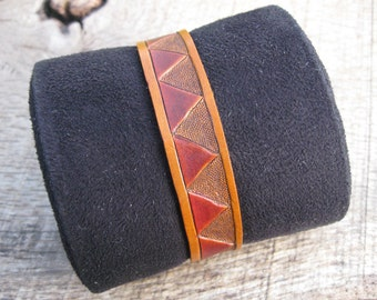 Hand Tooled Tribal Leather Cuff Bracelet, custom made to order. Free shipping.