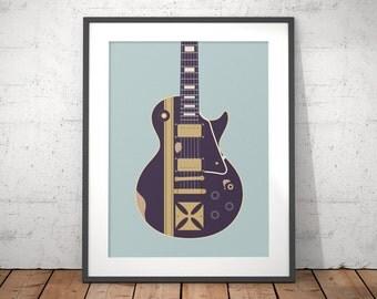 James Hetfield Metallica Gibson Les Paul Iron Cross Guitar Poster Art Print