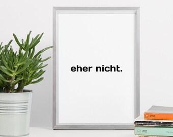 Printable Wall Art - Minimal Typography Black - Rather Not