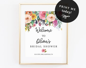 Editable Floral Welcome Sign template, Instant Download printable, Any Event Bridal Baby Wedding Baptism Birthday, Customized PDF, MAM106_27
