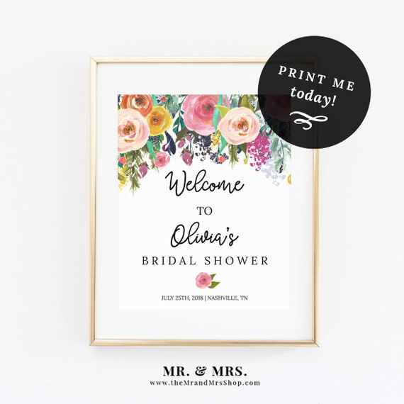 editable floral welcome sign template instant download. Black Bedroom Furniture Sets. Home Design Ideas