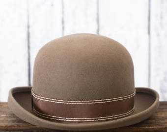 Vintage Brown Bowler Hat | Charlie Chaplin Style Hat | Magritte Style Hat |  Tan Beige