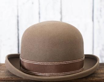 Vintage brown bowler hat | Charlie Chaplin style hat | Magritte style hat | Tan Beige | Vintage bowler hat | Brown taupe felt hat