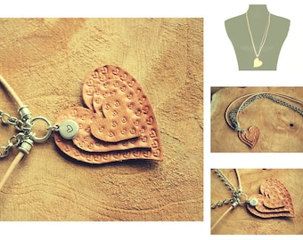 Necklace-Heart of leather-