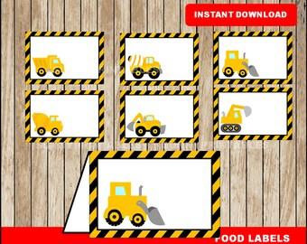 Construction food labels; printable Construction tent cards, Construction party food tent cards instant download