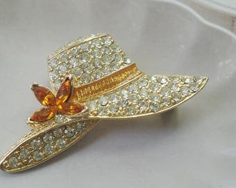 Vintage Monet Rhinestone 10K Gold Plated Hat Pin