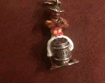 Jamaica Oil can drummer vintage sterling silver enamel charm pendant or keychain charm