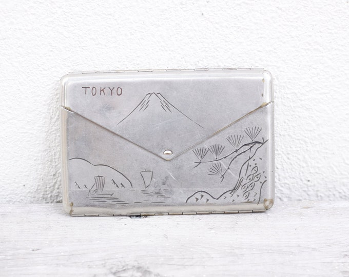 Tokyo card case, Japanese WW2 business card case, Mount Fuji engraved vintage metal cigarette case, opens like an enveloppe